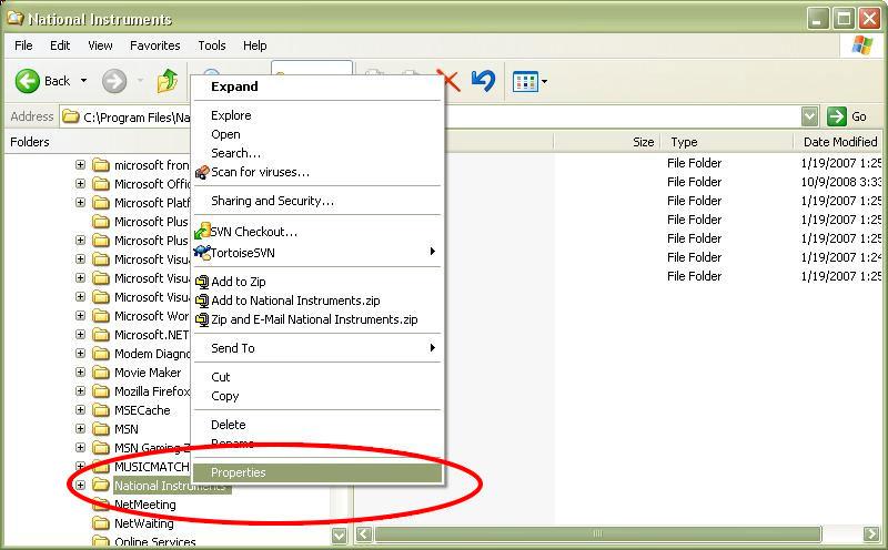 Properties Box for National Instruments Folder