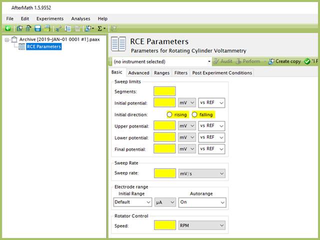 Rotating Cylinder Voltammetry (RCE) Experiment Basic Tab