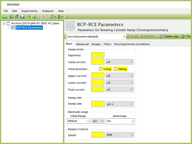 Rotating Cylinder Ramp Chronopotentiometry (RCP-RCE) Experiment Basic Tab
