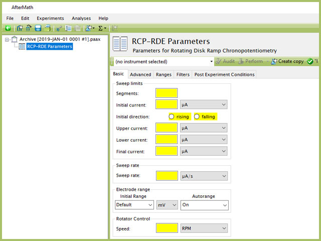 Rotating Disk Ramp Chronopotentiometry (RCP-RDE) Experiment Basic Tab