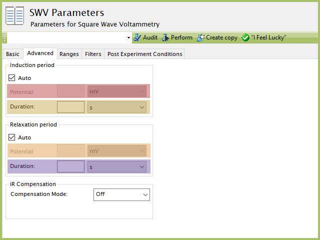 Square Wave Voltamemtry (SWV) Advanced Tab settings plot