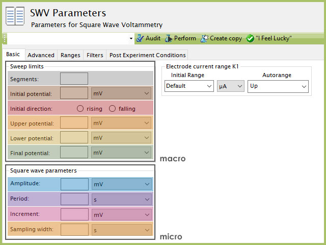 Basic tab for Square Wave Voltammetry (SWV) experimental parameters. Inset figure plots each BE period on a time axis