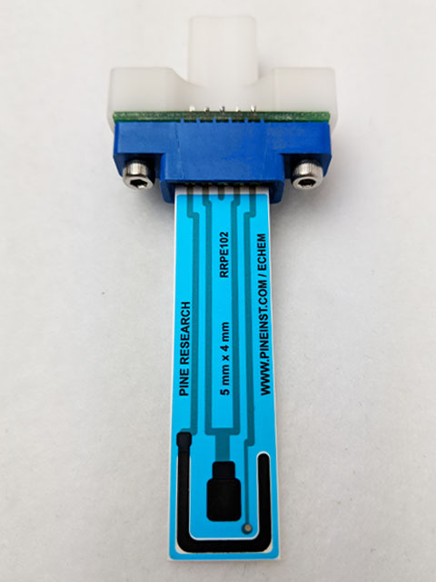 Carbon screen-printed electrode connected to grip mount
