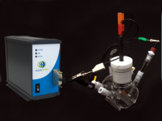 Quartz cell kit connected to a WaveDriver 20 Bipotentiostat/Galvanostat System.